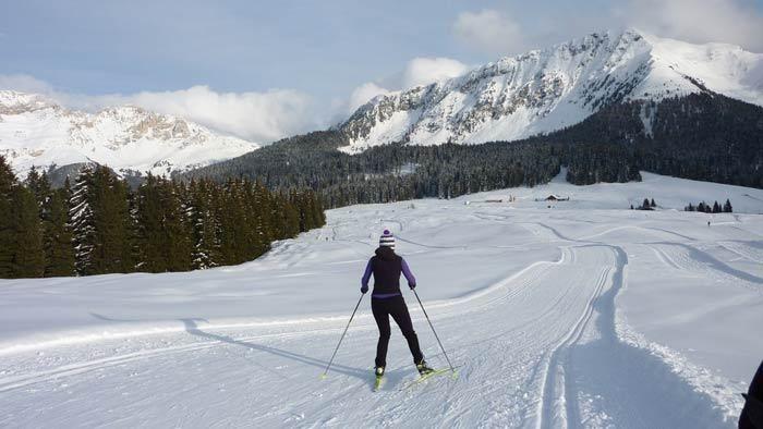 Sci di fondo a Passo Lavazè. Trentino, Italy