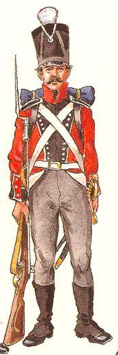 Menig fra 1. Jydske Infanteri Regiment (Kilde: Walbom-Pramvig: Uniformer, Faner og Våben i Den Danske Hær)