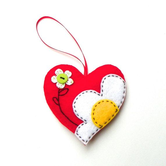 DIY Felt Flowers On Hearts Ornament Kit by PaisleyMoose on Etsy