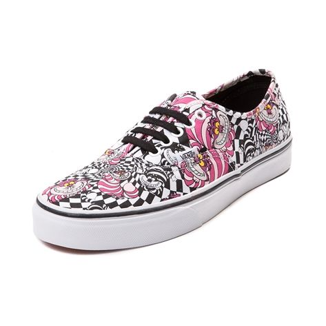 Show some cat-astrophic coolness, with the new Authentic Cheshire Cat Skate Shoe from Vans and Disney's Alice in Wonderland! This mischievous Cheshire Cat themed Vans Authentic Skate Sneaker rocks mad-cool colors and prints on a soft canvas upper with breathable lining for all day comfort and style.    Features include   Durable canvas uppers   Front lace closure offers a secure fit   Padded footbed provides cushion and support   Vulcanized rubber outsole with signature waffle tread de...