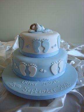 Blue Footprint christening cake