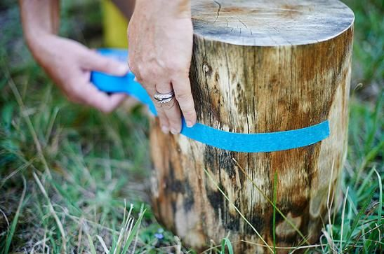 Tape different patterns onto your stumps, to avoid getting paint in places that you want raw.