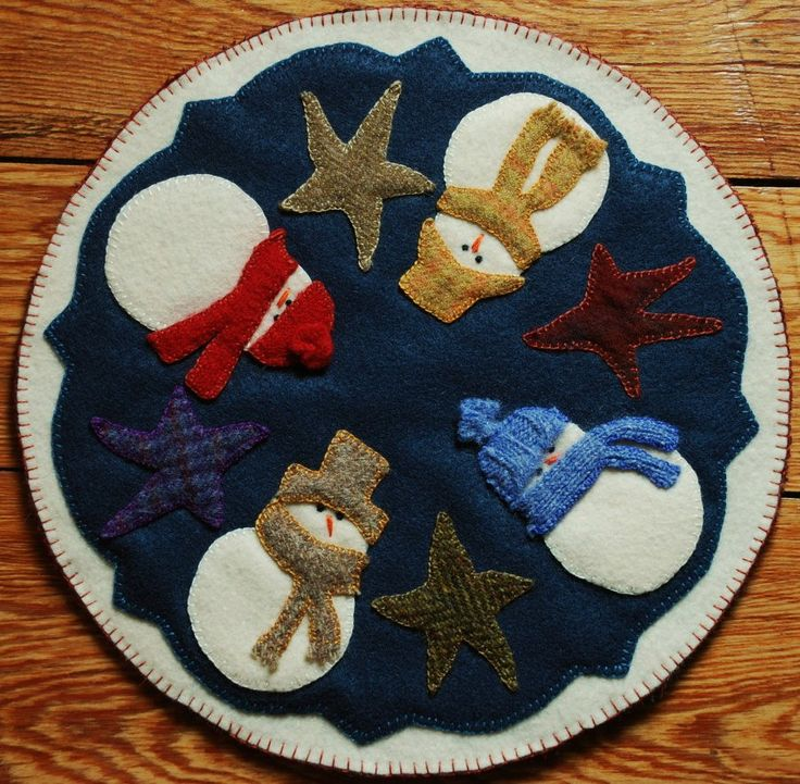 Primitive Penny Rug Candle Mat Christmas Snowman Stars Wool Applique