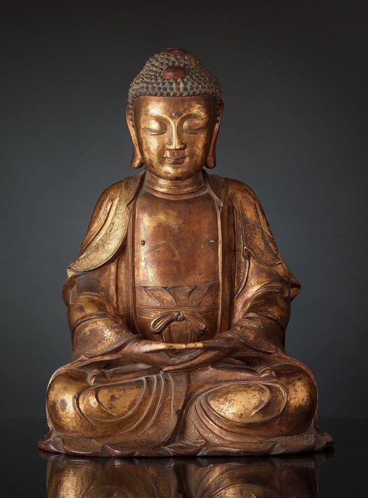 **gilt bronze figure of Buddha, Ming dynasty ️⚜️More At FOSTERGINGER  @ Pinterest