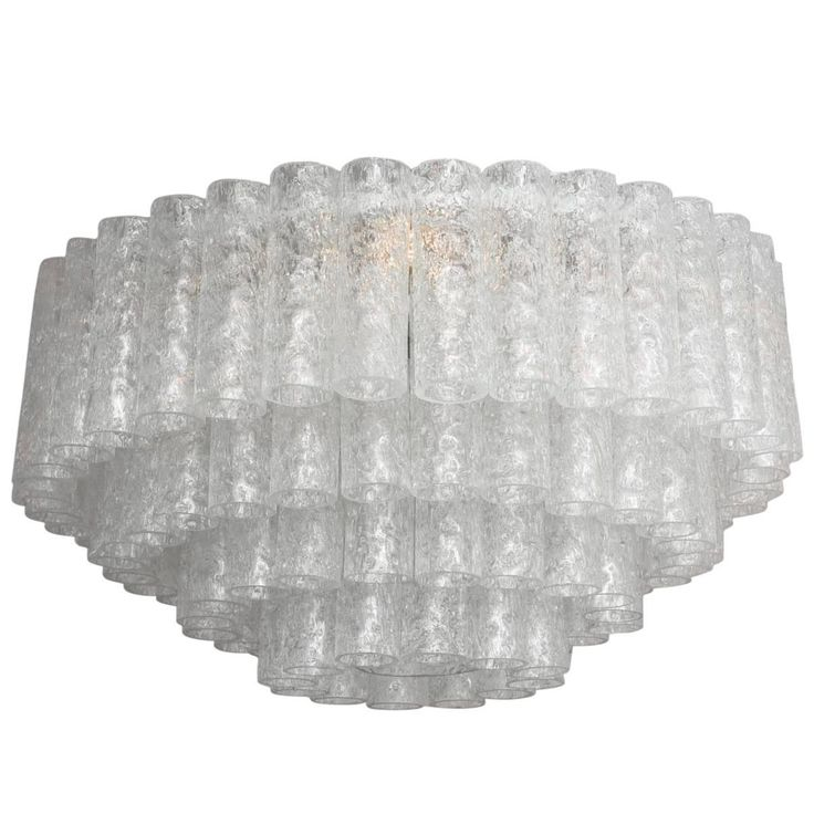"""Mid-Century Modern Four-Tiered """"Eisglas"""" Doria Leuchten Chandelier, Germany 