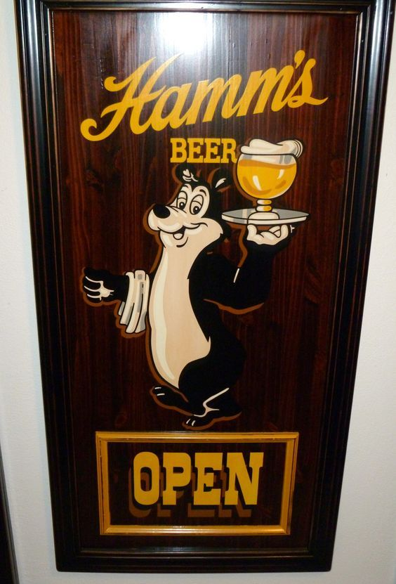 "Hamm's Beer Sign  -48"" high x 24"" wide  -Made from 1 1/2"" thick pine board with painted border trim and moulding  -Hand lettered, stained and varnished  -Interior sign  $130.00  If interested, please e-mail me at parrotsully@yahoo.com"