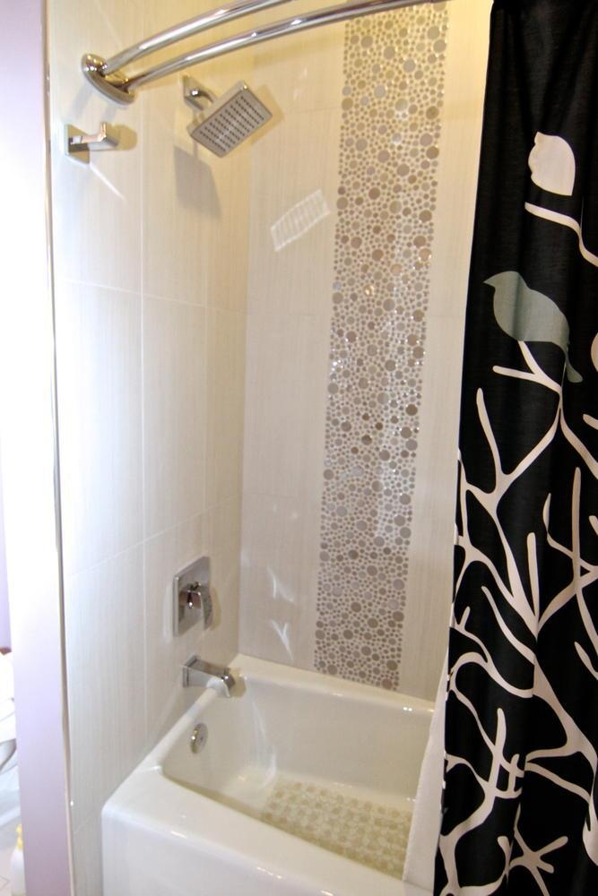 The Tub Area Before The Remodel Was A Typical White Tile Bathtub Area This One Has So Much More Personality With The Bubble Tile We Used Here And