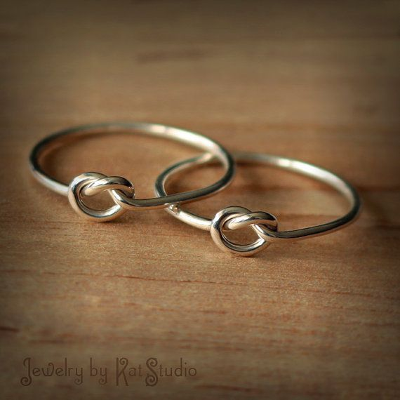 2 Friendship knot rings - Set of two best friends rings - sterling silver 925 - 16 gauge - gift packaging via Etsy