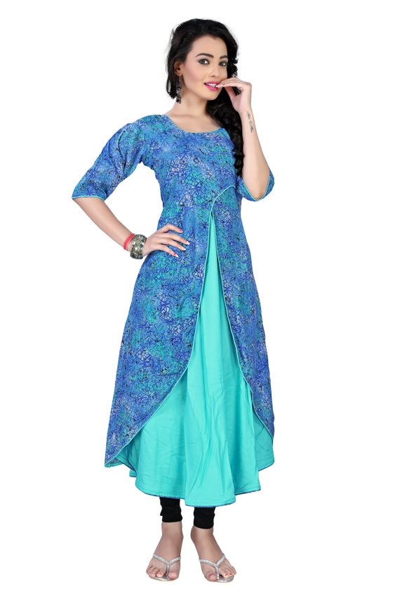 New Arrival Sky Blue Rayon Cotton Silk Kurti Dress by TheEmpirehub