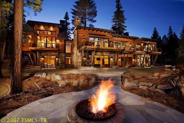 fire pit on stone patio