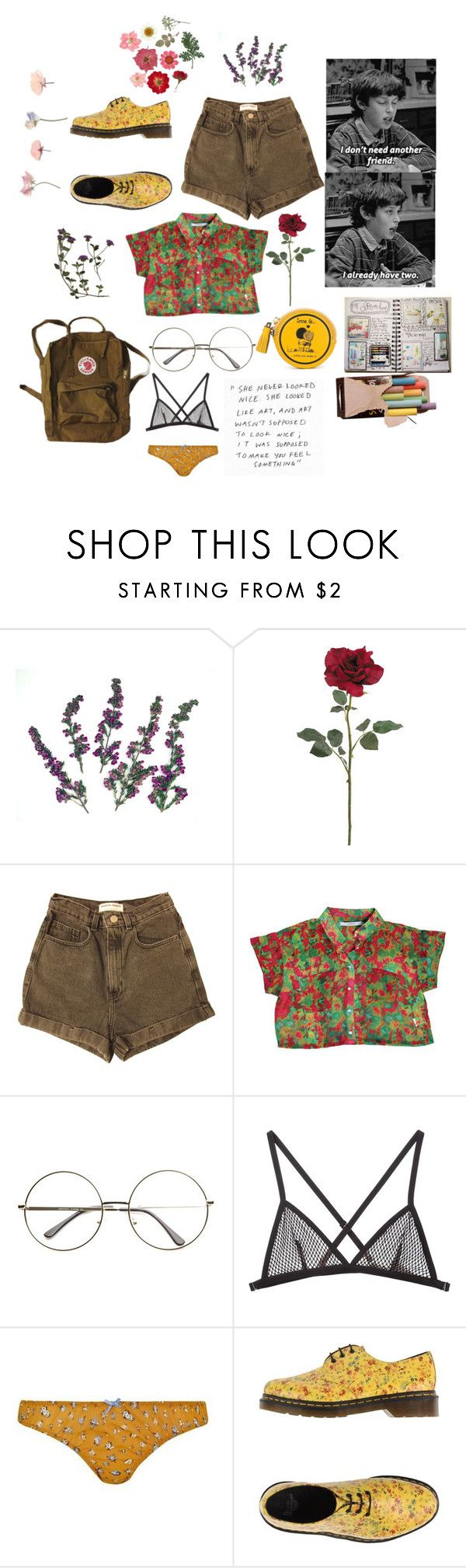 """""""GOD! She's such an a Art Hoe"""" by alien-fromearth on Polyvore featuring American Apparel, Fleur du Mal, Topshop, Dr. Martens and Anya Hindmarch"""