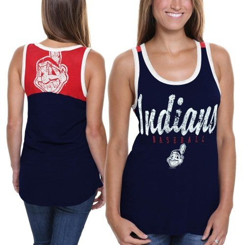 Cleveland Indians Ladies National Title Tank - Navy Blue