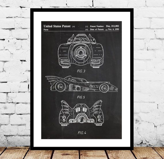 Batman Batmobile Print Batman Batmobile by STANLEYprintHOUSE