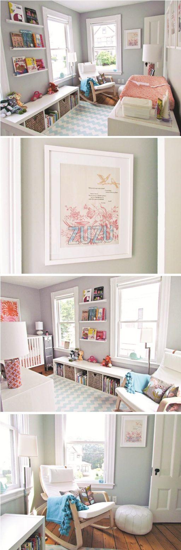 Ideas for Ruby's room. Love the 'shelves' for books.