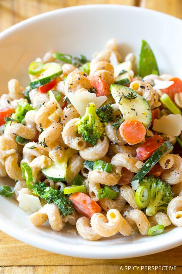 Skinny Pasta Primavera Recipe - A low fat healthy version of classic pasta primavera, bursting with fresh crisp spring vegetables.