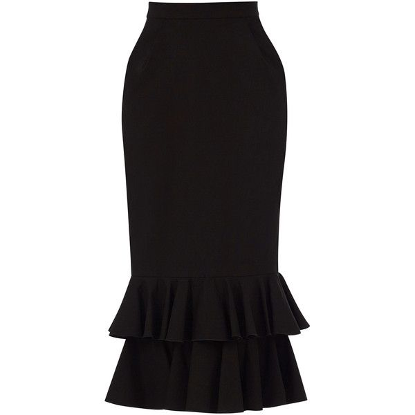 Yanina Demi Couture Tiered Pencil Skirt ($430) ❤ liked on Polyvore featuring skirts, black, pencil skirt, tiered skirts, knee length pencil skirt and layered skirt