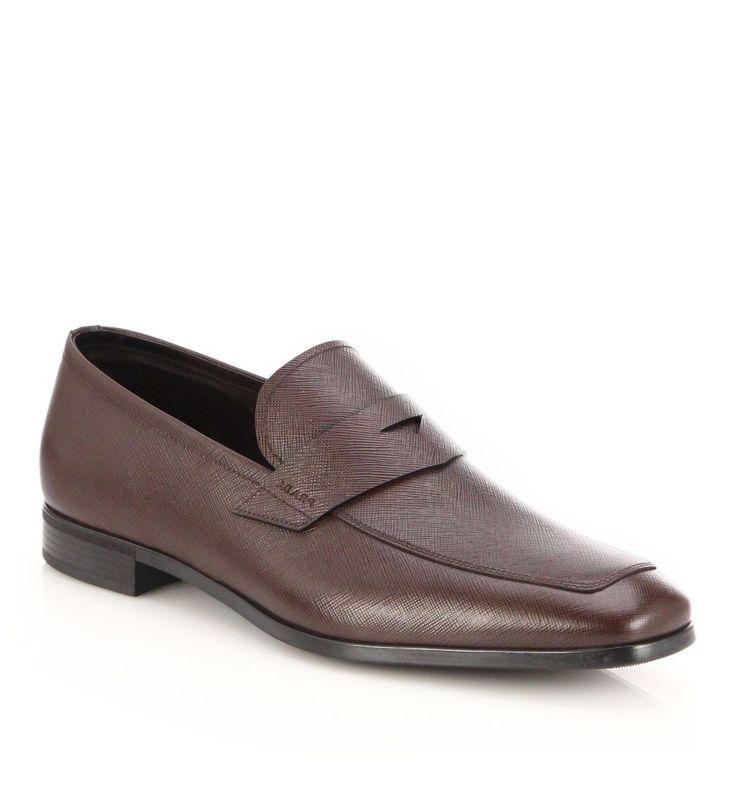 Prada Saffiano Leather Penny Loafers Caffe            $149.00
