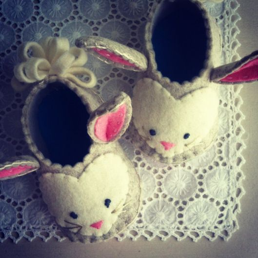 """The basic slipper shape is the one from my Felt Sew Good book…"" Christine Leech"