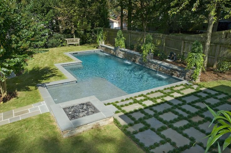 Inground Swimming Pool With Sunshelf And Firepit Pool