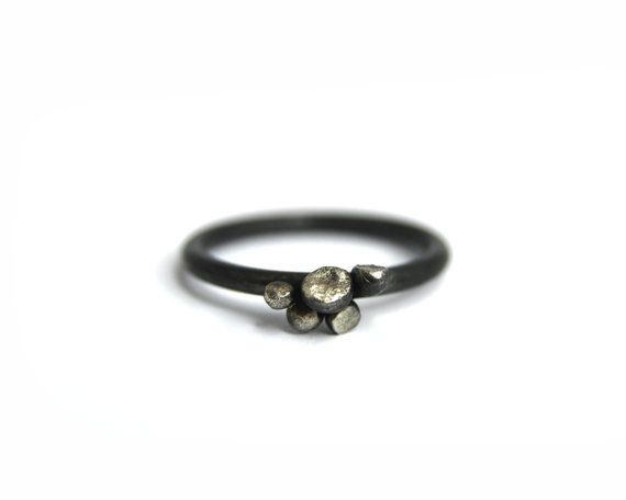 Silver ring nuggets floral oxidized sterling silver jewelry