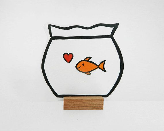 Wooden fishbowl with a goldfish and a heart. Handmade home decoration of 4 mm mdf material. Great gift for Valentines Day.  Ideal for at home or