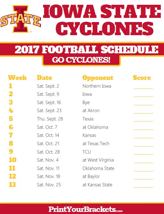 2017 Iowa State Cyclones Football Schedule