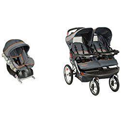 Baby Trend Flex Loc Infant Car Seat, Vanguard Grey with Navigator Double Jogging Stroller, Vanguard Grey