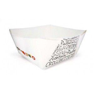 Vaschetta in cartone per alimenti, contenitore monouso adatto per crocchè, contorni, patatine, etc. Confezioni da 250 pezzi,  Acquista subito su www.confezionare.eu
