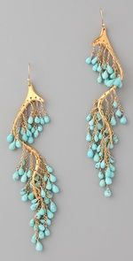 gold turquoise river earrings. Alexis Bittar