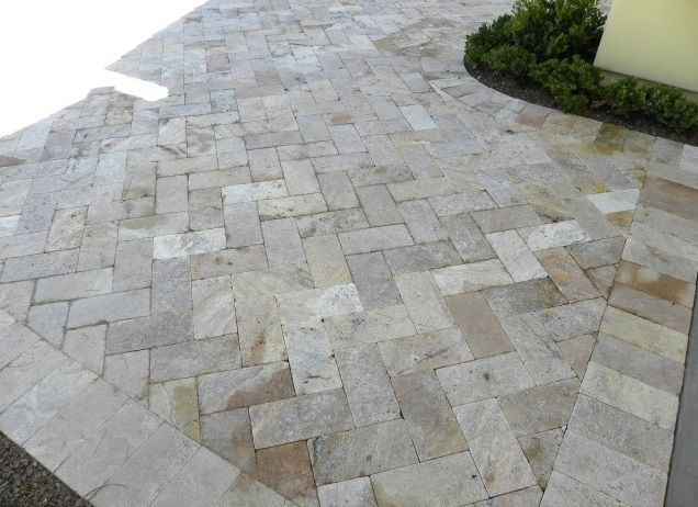 Travertine Pavers, herringbone pattern