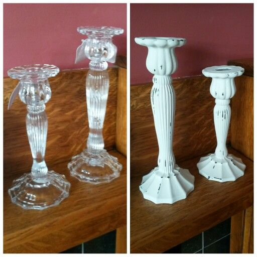#PhotoGrid #chalkpaint Annie Sloan chalk painted glass candlesticks