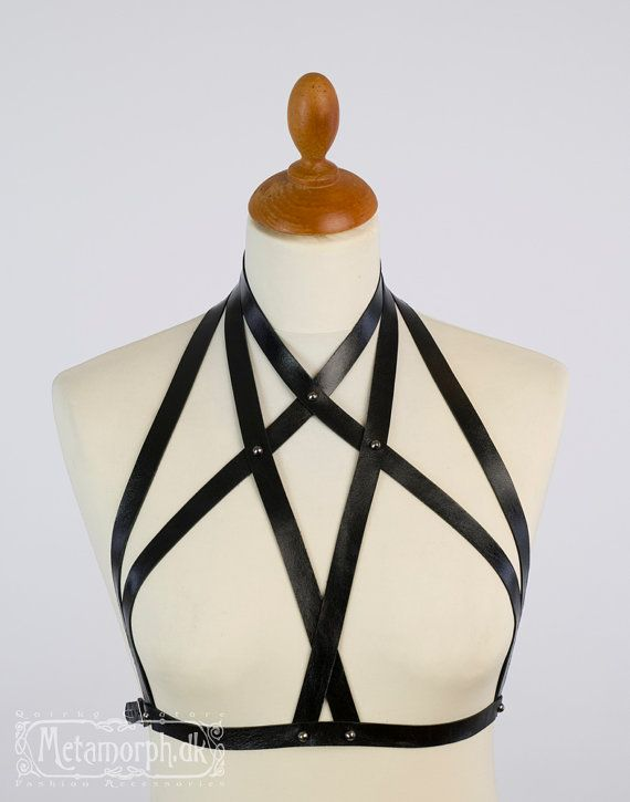 Leather fashion harness Halter neck chest harness by MetamorphDK, $110.00. Would be so cute under loose tanks and oversized scoopnecks.