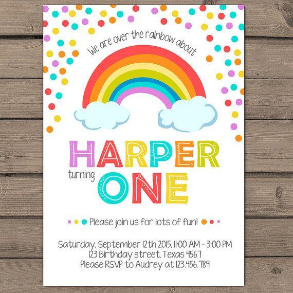 Rainbow Birthday Invitation Rainbow Party Invitation Rainbow invitation colorful birthday invitation with photo Digital printable ANY AGE
