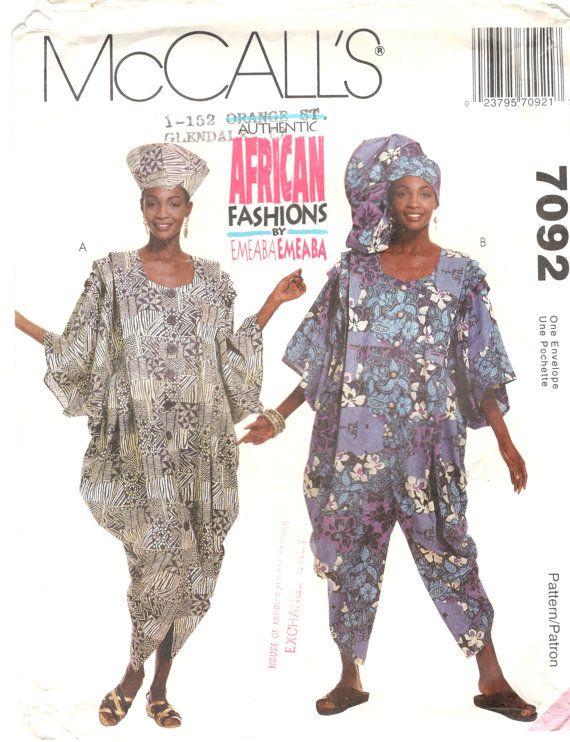 McCalls 7092 missers authentieke Afrikaanse jurk Jumpsuit patroon EMEABA Womens naaien patroon maat Sm Md LG buste 30-44 ONBESNEDEN