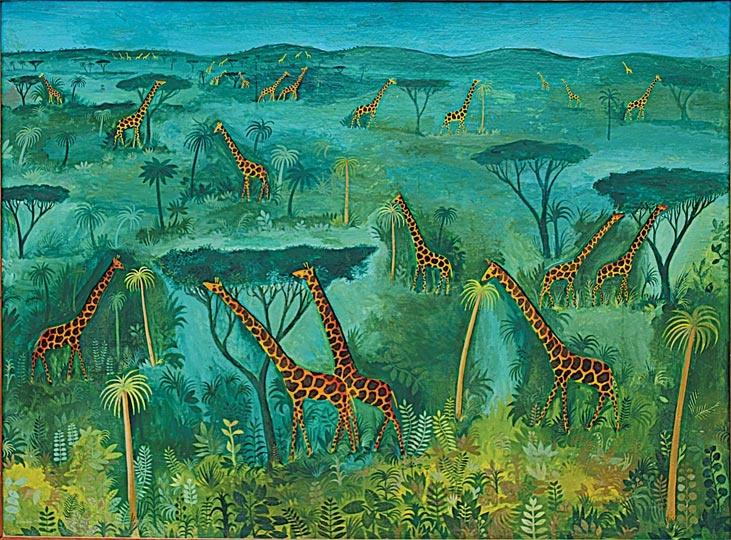 Hans Scherfig, Grøn savanne - 32 giraffer på grøn savanne, 1949, Hans Scherfig/billedkunst.dk, http://www.thisistomorrow.info/viewArticle.aspx?artId=617=Hans%20Scherfig