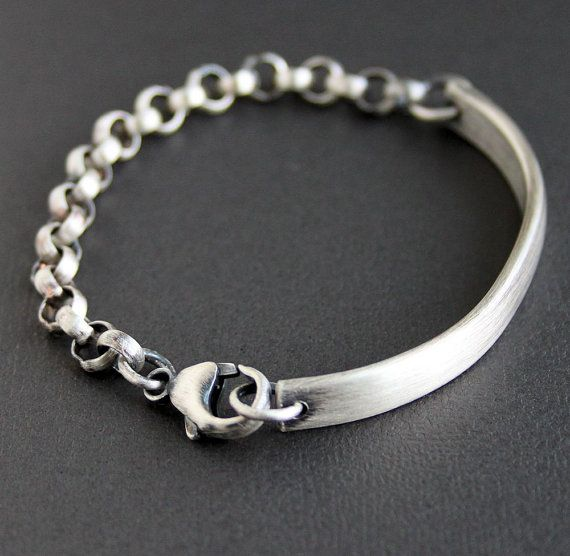 Men's Sterling Bracelet Chunky Silver Chain and Bar