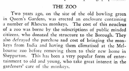 About the zoo in the Queen's gardens.   It's not there now.