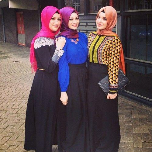 maxi skirt, colored shirt, Turkish hijab |Lady Muslimah|