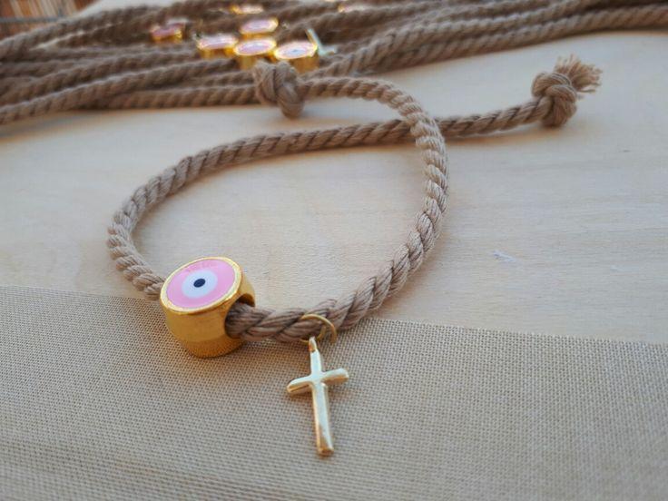 Πρωτότυπα μαρτυρικά βάπτισης με κορδόνι της άμμου και ροζ μεταλλικό ματάκι για κοριτσάκι,Χειροποίητα μαρτυρικά σαν κόσμημα