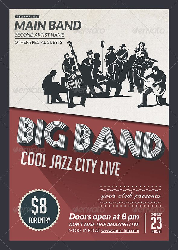 Big Band Jazz Flyer Big band jazz, Flyer design templates and - band flyer template