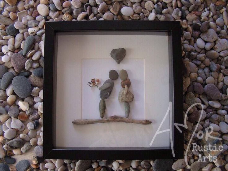 Pebble Art Picture. Couple love special occasion unique gift anniversary rustic. Available to purchase from http://www.amorrusticarts.com/store/c3/Pebble_Pictures.html