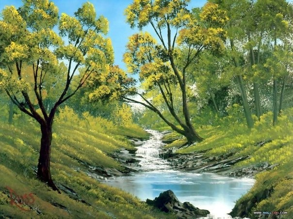 Bob Ross - running water, stream and the trees giving shade to the fish and other critters during the hot summer days - MReno