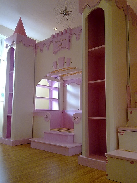 love the simple top molding and the interior of the bookcases being a darker color Childrens Princess castle bed by thelittlebedcompany, via Flickr                                                                                                       ..