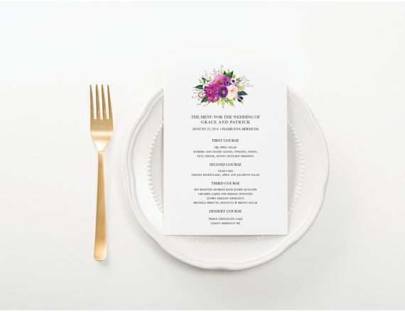 Wedding Menu Purple Blooms Bridal Luncheon por seahorsebendpress