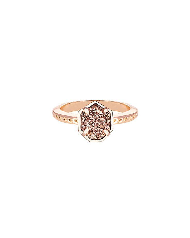 Calvin Ring in Rose Gold Drusy Druzy Rings Minimalist