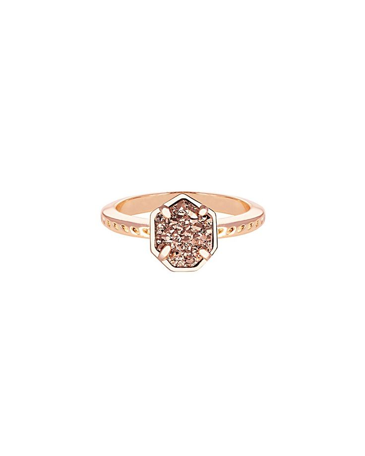 Calvin Ring in Rose Gold Drusy Druzy Rings Minimalist