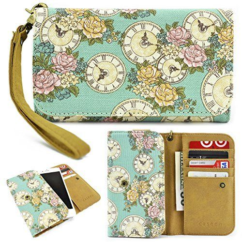 caseen Floral Clocks Women's Smartphone Wallet Clutch Wristlet Case (Mint Turquoise Canvas) for Apple iPhone 6 5S 5C 5 4S 4, Samsung Galaxy S5 S4 S3 Alpha, Google Nexus 5, LG G2, HTC One M7, Sony Xperia Z E3 Z3 Compact, Moto X, Moto G, Droid Razr [Up to 5.75 x 3.1 Inch Cellphone] - Medium Size, http://www.amazon.com/dp/B00OGP4DVW/ref=cm_sw_r_pi_awdm_sAlNvb19ABAJ2