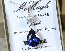Anhänger Halskette, Navy-blau, Saphir blau Hochzeit Schmuck Brautjungfer Geschenke Brautjungfer Schmuck Bridal Jewelry-drop Halskette Brautjungfer-Geschenk-SET