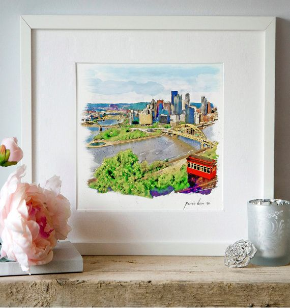 Pittsburgh Cityscape Watercolor painting Aerial by Artsyndrome
