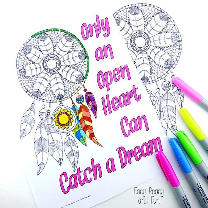 dream catcher coloring pages for adults